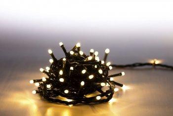 Řetěz světelný 100 LED 5 m - teplá bílá - zelený kabel